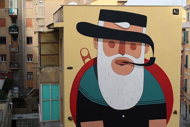 murales marinaio con pipa