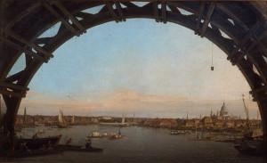 Canaletto. La City di Londra vista attraverso un arco di Westminster Bridge, 1747, olio su tela, cm. 58 x 95