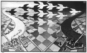 Giorno e notte, 1938, xilografia in nero e grigio, stampato da due blocchi, mm. 392 x 676