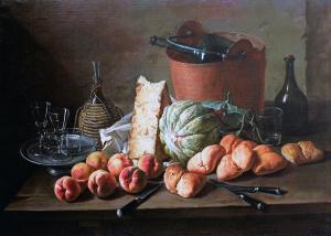 Giacomo Ceruti. Tavolo con pesche, formaggio e pani, olio su tela,  cm. 83 x 119. Collezione privata
