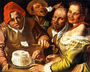 Vincenzo Campi. Mangiatori di ricotta, 1580 circa, olio su tela, cm, 72 x 89. Collezione privata