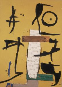 Personaggio e uccello, 1976, olio su carta vetrata, legno e chiodi, cm. 175,5 x 125,5.  Fundació Pilar iJoan Miró a Malorca  © Sucesione Miró by SIAE 2014 Foto: © Joan Ramon Bonet & David Bonet