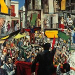 Renato Guttuso. NNeighbourhood Rally, 1975. Acrylic and collage on paper, 210 x 200 cm. Courtesy Art Gallery Maggiore, Bologna