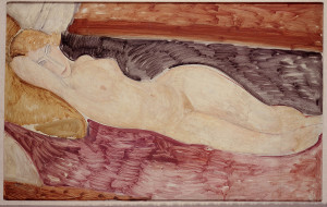 Amedeo Modigliani. Lying nude woman 1918-1919. Oil on canvas. Acquired by Marlborough Gallery