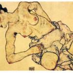 Egon-Schiele-Woman kneeling half-naked