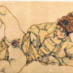 Egon Schiele. Reclined female nude, 1916