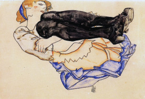 Egon Schiele. Woman with blue stockings, 1912