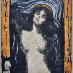 Edvard Munch. Madonna II, 1895-1902. Hand-colored lithograph, cm. 60,5 x 44,5. Private collection p. Ars Longa, Vita Brevis/Tor Petter Mygland, Oslo. Photo: © Katarte.net
