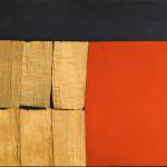 Alberto Burri. Black Red Wood, 1960. Wood veneer, acrylic, and Vinavil on canvas, cm. 83 x 133. Private collection, courtesy Galleria dello Scudo, Verona