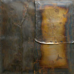 Alberto Burri. Large Iron M 4, 1959. Welded iron sheet metal and tacks on wood framework, cm. 199.8 x 189.9. Solomon R. Guggenheim Museum, New York 60.1572. © Palazzo Albizzini Foundation , Burri Collection, Città di Castello, Italy /2015 Artist Rights Society (ARS), New York/SIAE, Rome