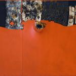 Alberto Burri. Red Hunchback, 1955. Acrylic, fabric, Vinavil, and combustion on black fabric; Vinavil can on verso, cm. 86 x 100. Courtesy Galleria Tega, Milan. Photo: Paolo Vandrasch and Romina Bettega