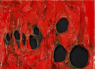 Alberto Burri. Red plastic, 1963. Acrylic and burned plastic on canvas, cm. 102 x 90. © Palazzo Albizzini Foundation, Burri Collection, Città di Castello, Italy