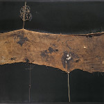 Alberto Burri. Sack SF 1 ca. 1954. Burlap, thread, acrylic, and PVA on canvas, 86 x 100.6 cm. Private collection, Ezio Gribaudo, Turin