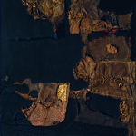 Alberto Burri. Sack and Gold, 1953. Burlap, thread, acrylic, gold leaf, and PVA on black fabric, cm. 102.9 x 89.4. Private collection, courtesy Galleria dello Scudo, Verona. © Palazzo Albizzini Foundation, Burri Collection, Città di Castello, Italy /2015 Artist Rights Society (ARS), New York/SIAE, Rome