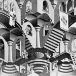 Escher. Concave and convex. Lithography, 1950
