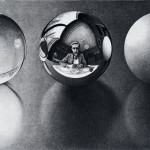 Escher. Three spheres II, 1946. Lithography