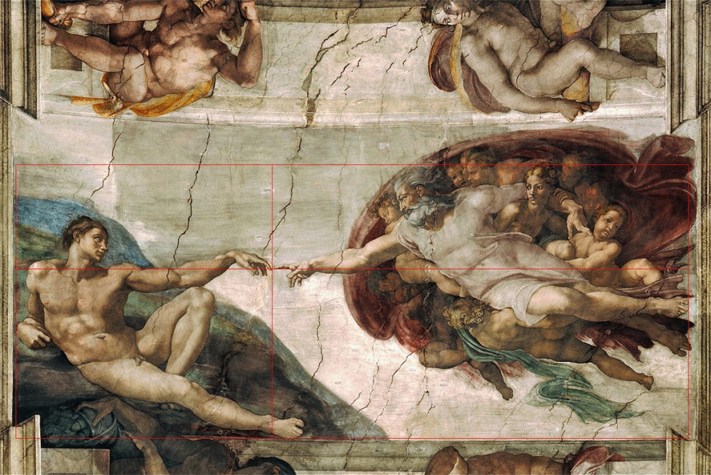 Michelangelo - The Creation of Adam - golden section