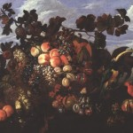 Abraham Brueghel. An Extensive Still Life of Fruit in a Landscape, 1670