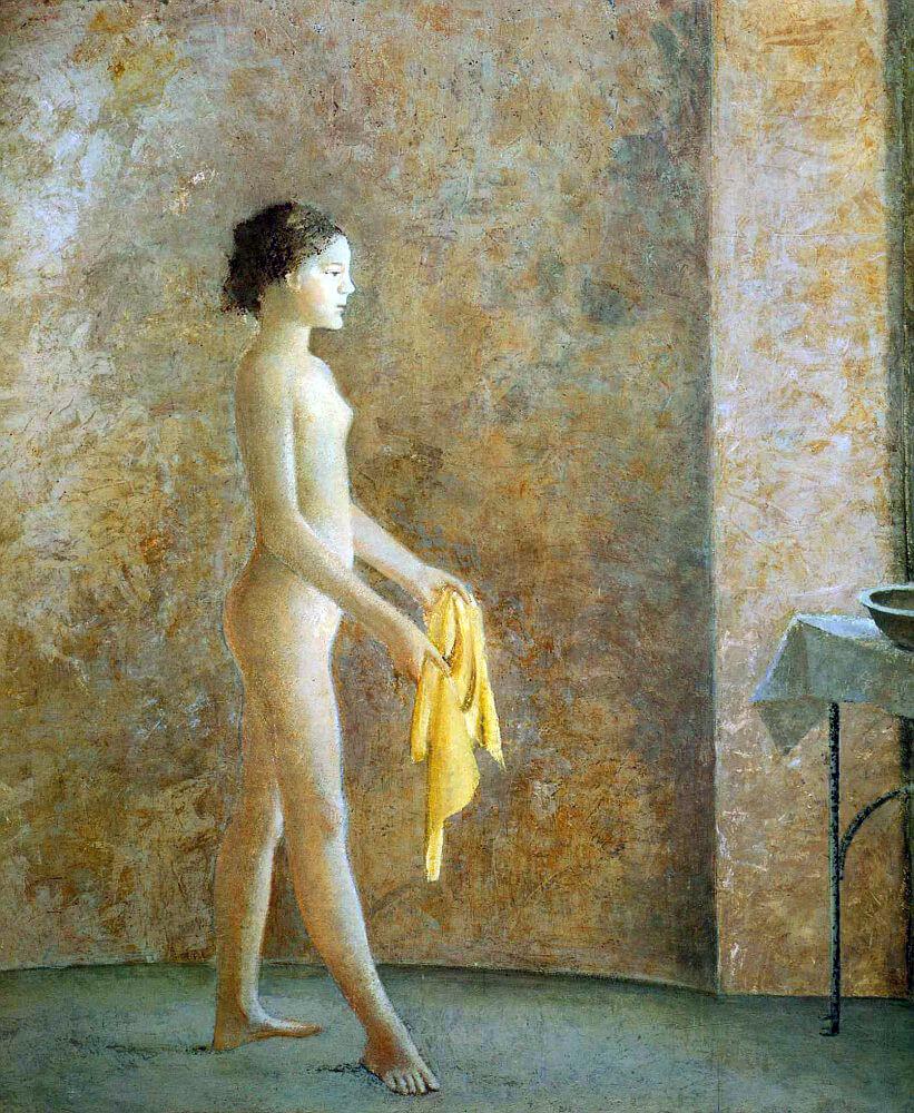 balthus. nude profile, 1973-1977. oil on canvas, cm. 225 x 200