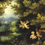 Jan Brueghel the Elder and Hans Rottenhammer. The Rest on the Flight to Egypt, 1595. Painting on copper, cm. 25 × 19. Museum of Art history, Wien
