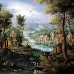 Jan Brueghel the Elder. River Landscape with bathers, 1595 - 1600. Oil on copper, cm. 17 x 22. Private collection, Switzerland