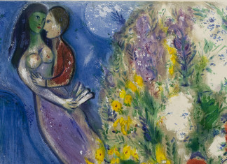 Marc Chagall. Loving couple and flowers, 1949. Lithograph in colors, (detail)