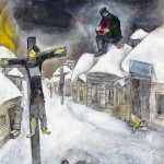 Marc Chagall. The Crucified, 1944. Pencil, gouache & watercolor on paper. Collection of The Israel Museum, Jerusalem; loan by Victoria Babin