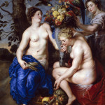 Peter Paul Rubens and Frans Snyders. Three nymphs filling a Cornucopia, 1617 circa . Oil on panel, cm. 223 × 162. Prado Museum, Madrid