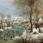 Pieter Brueghel the Younger. Winter landscape with skaters and a bird trap, 1565. Oil on oak panel, cm. 39 x 57. Art History Museum, Wien