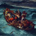 Eugène Delacroix. Christ calming the storm, 1853 ca. Oil on canvas, cm. 50,8 X 61. The Metropolitan Museum of Art, New York City