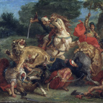 Eugène Delacroix, Lion Hunt, 1858, Oil on canvas, cm. 91,7 x 117,5. Museum of Fine Arts, Boston