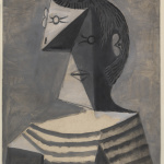 Pablo Picasso. Bust of man in striped shirt, 1939. Gouache on paper, cm 63.1 x 45.6. Venice, the Peggy Guggenheim Collection
