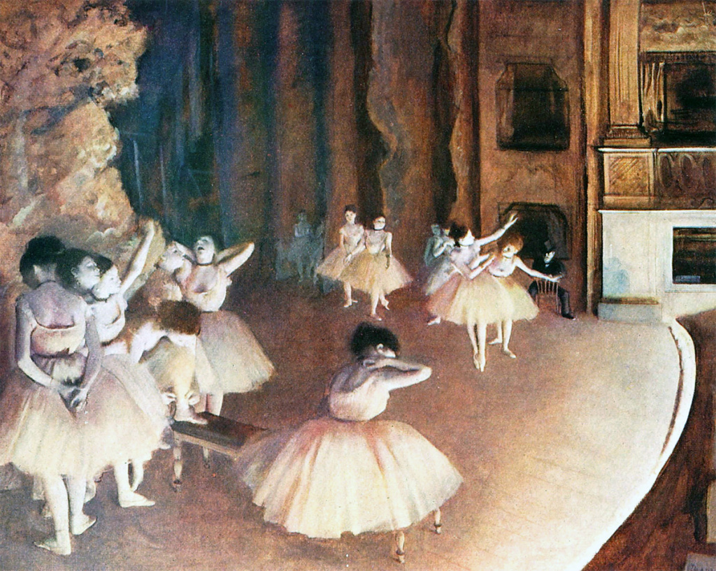 Edgar Degas. The ballet rehearsal on Stage, 1874. Orsay Museum, Paris