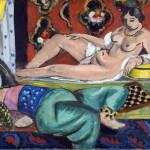 Henri Matisse - Deux odalisque dont lune dévetue fond ornemental et damierDue, 1928. Oil on canvas, cm. 54 x 65. © Succession H. Matisse, c / o Pictoright Amsterdam, 2014