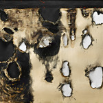 Alberto Burri. Plastic Combustion, 1958. Plastic (PVC), acrylic, fabric, staples, and combustion on canvas, cm. 120 x 150. Private collection, courtesy Sperone Westwater, New York