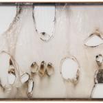 Alberto Burri. Large White Plastic, ca. 1965. Plastic, acrylic, combustion, and Vinavil on Cellotex, cm. 191.8 x 292.1. Kravis Collection. Photo: Tim Nighswander/IMAGING4ART, courtesy Glenstone