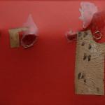 Alberto Burri. Red Hunchback, 1953. Acrylic, fabric, and resin on canvas; metal rod on verso, cm. 56.5 x 85. Private collection, Rome ©Palazzo Albizzini Foundation , Burri Collection, Città di Castello, Italy /2015 Artists Rights Society (ARS), New York/SIAE, Rome