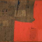 Alberto Burri. Sack H 8, ca. 1953. Burlap, synthetic polymer paint, thread, and Vinavil on black fabric, cm. 86 x 100. Courtesy Galleria Tega, Milan. Photo: Paolo Vandrasch and Romina Bettega