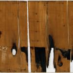 Alberto Burri. Wood and White I, 1956. Wood veneer, combustion, acrylic, and glue on canvas, cm. 87.7 x 159. Solomon R. Guggenheim Museum, New York. © Palazzo Albizzini Foundation, Burri Collection. Citta di Castello, Italy /2015 Artists Rights Society (ARS), New York/SIAE, Rome/SIAE, Rome