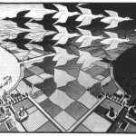Escher. Day and night, 1938. Woodcut in black and gray, printed from two blocks, mm. 39.2 x 67.6