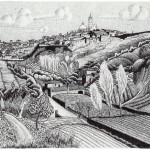 Escher. Italian landscape, around Siena, 1923. Lithography