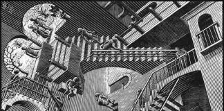 Escher. Relativity, 1953. Woodcut medium