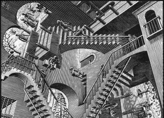 Escher. Relativity, 1953. Woodcut medium