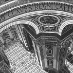 Escher. St. Peter's, Rome, 1935. Wood engraving