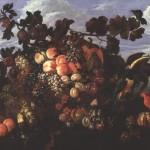 Abraham Brueghel. An Extensive Still Life of Fruit in a Landscape, 1670
