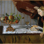 Balthus. The tasting. Still Life with a figure, 1940. Oil paint on paper mounted onto wood, cm. 72,9 x 92,8. Collection Tate Acquisition Bequeathed by Simon Sainsbury 2006, accessioned 2008