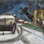 Marc Chagall. Over Vitebsk, 1914. Gouache, graphite and colored pencil on cardboard, cm. 51.5 x 64.3. Legacy Anna Salzmann, Paris, to the State of Israel