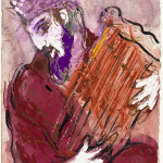 """Marc Chagall. The Psalm of David, 1956 ca. Drawing for the """"Verve"""" edition of the Bible. India ink, gouache, watercolor and pencil on paper, cm. 35,6 x 26,5. Gift of Ida Chagall, Paris"""