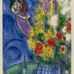Marc Chagall. Pair of Lovers and Flowers. Color lithograph, 1949, cm. 555 x 410. Gift of Ida Chagall, Paris