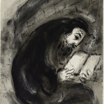 Marc Chagall. Untitled (Praying Jew), india ink and wash on paper, cm. 439 x 327. Credits: Gift of the artist, © Chagall ® by SIAE 2015